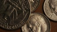 Rotating stock footage shot of American monetary coins - MONEY 0252