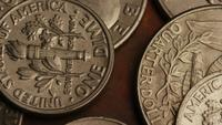 Rotating stock footage shot of American monetary coins - MONEY 0249