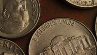 Rotating stock footage shot of American monetary coins - MONEY 0309