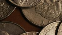 Rotating stock footage shot of American monetary coins - MONEY 0256