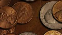 Rotating stock footage shot of American monetary coins - MONEY 0276