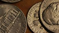 Rotating stock footage shot of American monetary coins - MONEY 0312