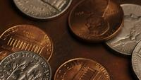Rotating stock footage shot of American monetary coins - MONEY 0293
