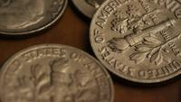 Rotating stock footage shot of American monetary coins - MONEY 0325