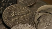 Rotating stock footage shot of American dimes (coin - $0.10) - MONEY 0209