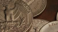 Rotating stock footage shot of American monetary coins - MONEY 0266