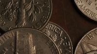 Rotating stock footage shot of American monetary coins - MONEY 0305