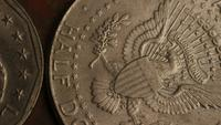 Rotating stock footage shot of American monetary coins - MONEY 0346