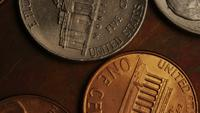 Rotating stock footage shot of American monetary coins - MONEY 0341