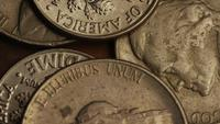 Rotating stock footage shot of American monetary coins - MONEY 0308