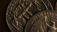 Rotating stock footage shot of American monetary coins - MONEY 0278