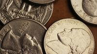 Rotating stock footage shot of American monetary coins - MONEY 0260