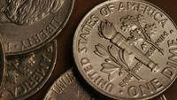 Rotating stock footage shot of American monetary coins - MONEY 0306