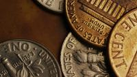 Rotating stock footage shot of American monetary coins - MONEY 0316