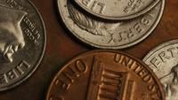 Rotating stock footage shot of American monetary coins - MONEY 0315
