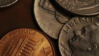Rotating stock footage shot of American monetary coins - MONEY 0285