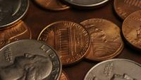 Rotating stock footage shot of American monetary coins - MONEY 0271