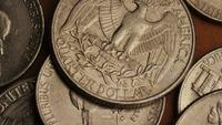 Rotating stock footage shot of American monetary coins - MONEY 0255