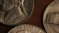 Rotating stock footage shot of American monetary coins - MONEY 0257