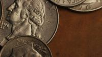 Rotating stock footage shot of American monetary coins - MONEY 0250