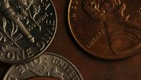 Rotating stock footage shot of American monetary coins - MONEY 0318