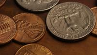 Rotating stock footage shot of American monetary coins - MONEY 0269