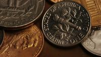 Rotating stock footage shot of American monetary coins - MONEY 0291