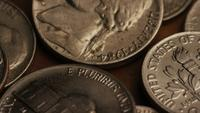 Rotating stock footage shot of American monetary coins - MONEY 0300