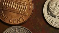 Rotación de metraje de tiro de monedas monetarias estadounidenses - DINERO 0314