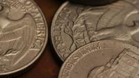 Rotación de metraje de tiro de monedas monetarias estadounidenses - DINERO 0265
