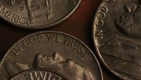 Rotación de metraje de tiro de monedas monetarias estadounidenses - DINERO 0304