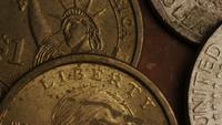 Rotación de metraje de tiro de monedas monetarias estadounidenses - DINERO 0345