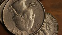 Rotating stock footage shot of American monetary coins - MONEY 0253