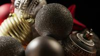Cinematic, Rotating Shot of Christmas ornaments - CHRISTMAS 001