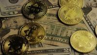 Rotating shot of Bitcoins (digital cryptocurrency) - BITCOIN 0188