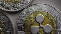 Rotating shot of Ripple Bitcoins (digital cryptocurrency) - BITCOIN RIPPLE 0007