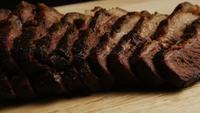 Rotating shot of delicious smoked brisket - BBQ 073