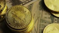 Rotating shot of Bitcoins (digital cryptocurrency) - BITCOIN 0202