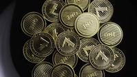 Rotating shot of Bitcoins (digital cryptocurrency) - BITCOIN LITECOIN 301