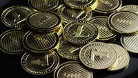 Rotating shot of Bitcoins (digital cryptocurrency) - BITCOIN LITECOIN 314