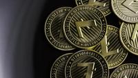 Rotating shot of Bitcoins (digital cryptocurrency) - BITCOIN LITECOIN 230