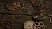 Rotating stock footage shot of antique and weathered watch faces - WATCH FACES 063