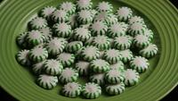 Rotating shot of spearmint hard candies - CANDY SPEARMINT 046