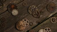 Rotating stock footage shot of antique and weathered watch faces - WATCH FACES 055
