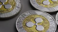 Rotating shot of Ripple Bitcoins (digital cryptocurrency) - BITCOIN RIPPLE 0012