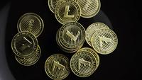 Rotating shot of Bitcoins (digital cryptocurrency) - BITCOIN LITECOIN 340