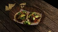 Rotating shot of delicious tacos on a wooden surface - BBQ 134