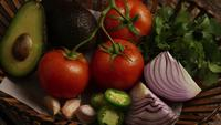 Rotating shot of beautiful, fresh vegetables on a wooden surface - BBQ 121