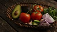 Rotating shot of beautiful, fresh vegetables on a wooden surface - BBQ 123