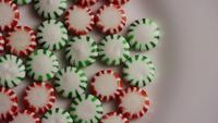 Rotating shot of spearmint hard candies - CANDY SPEARMINT 059